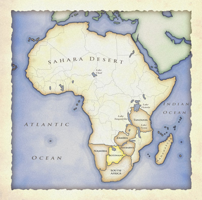 map of namibia africa. map of Africa